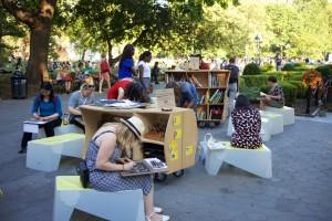 The Uni portable reading room in Washington Square Park, 2015.
