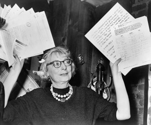 Jacobs showing documents as evidence at a press conference, 1961. Courtesy of Library of Congress