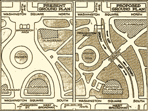 Robert Moses plan for roads cutting through Washington Square Park, 1950s Courtesy of New York University Archives